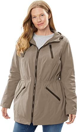 Woman Within Womens Plus Size Quilt-Lined Taslon Anorak