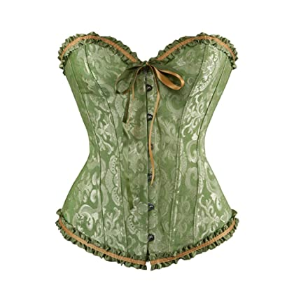 65d1415ed0 frawirshau Women s Lace Up Boned Plus Size Overbust Corset Bustier Top  Green 3X