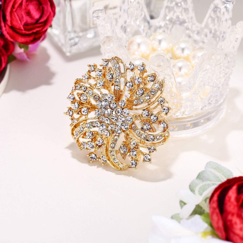 EVER FAITH Cristal Autrichien Perle Artificielle Mari/é Rose Fleur Goutte dEau Boucles dOreilles Clip-on Clair
