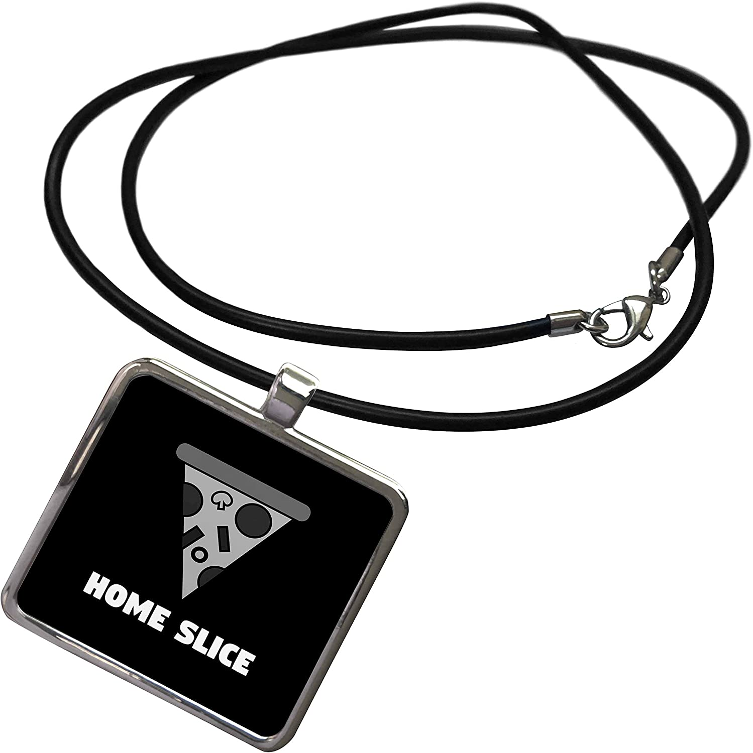 3dRose Stamp City - Typography - Home Slice. Black and White Pizza. White Letters on Black Background. - Necklace with Rectangle Pendant (ncl_325062)