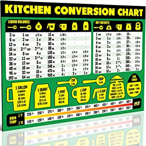 "Kitchen Conversion Chart Magnet - Extra Large Easy to Read 11"" x 8.5"" Measurement Cheat Sheet for Cooking Baking & Reading Recipes - Convert Volume Weight Celsius Fahrenheit Imperial & Metric Units"