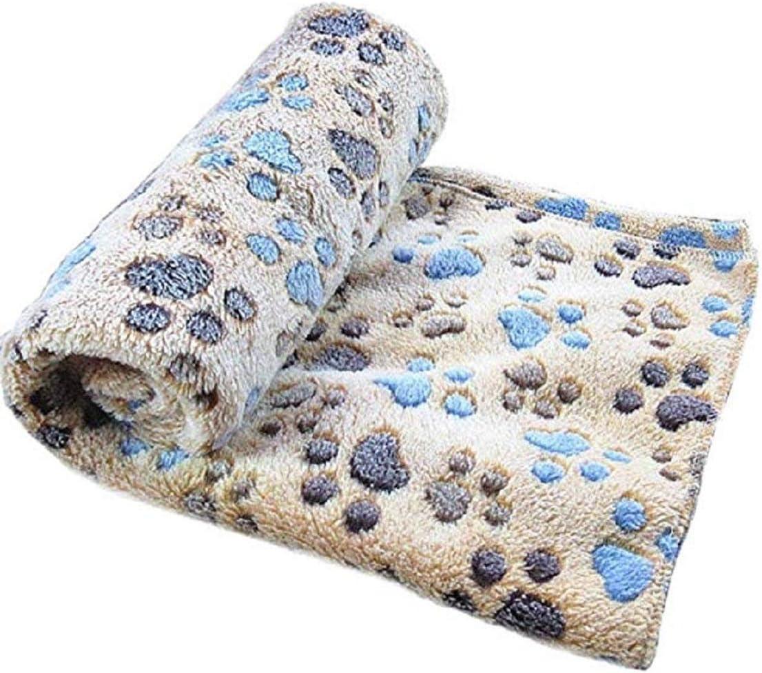 Manta con diseño de huella de perro, de forro polar suave y cálido, para mascotas pequeñas, medianas y grandes, marrón, small