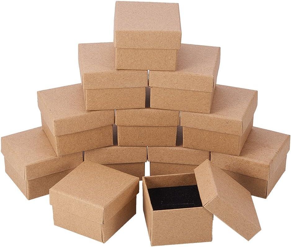 NBEADS 24 Piezas Kraft Marrón Cuadrado Cartón Joyería Anillo Cajas de Papel Caja de Regalo Al por Menor para Aniversarios, Bodas o Cumpleaños, 5x5x4 cm