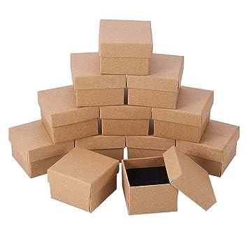 NBEADS 24 Piezas Kraft Marrón Cuadrado Cartón Joyería Anillo Cajas de Papel Caja de Regalo Al por Menor para Aniversarios, Bodas o Cumpleaños, ...