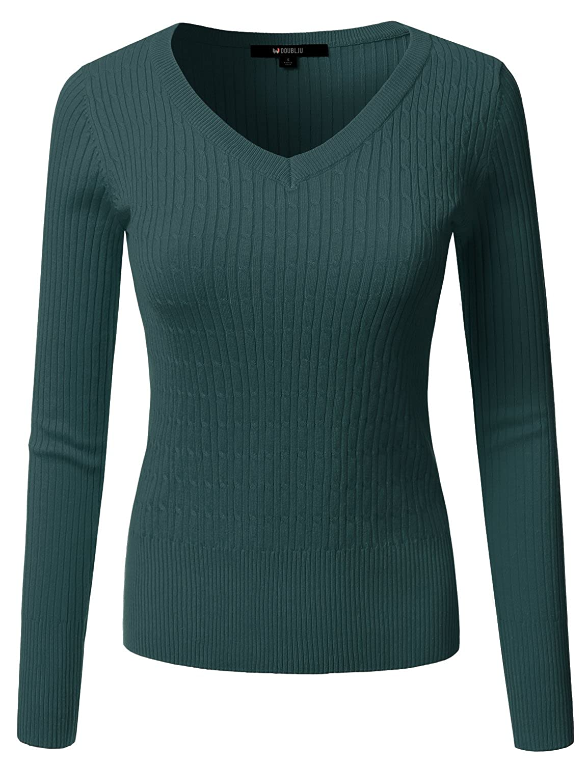 Awoswl0226_dustysage Doublju Slim Fit Twisted Cable Knit VNeck Sweater For Women