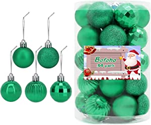 34 PC Colorful Christmas Ball Ornaments for Xmas Tree, Beautiful Hanging Balls for Holiday, Wedding Party Decoration are Available and Hooks Included (Green)