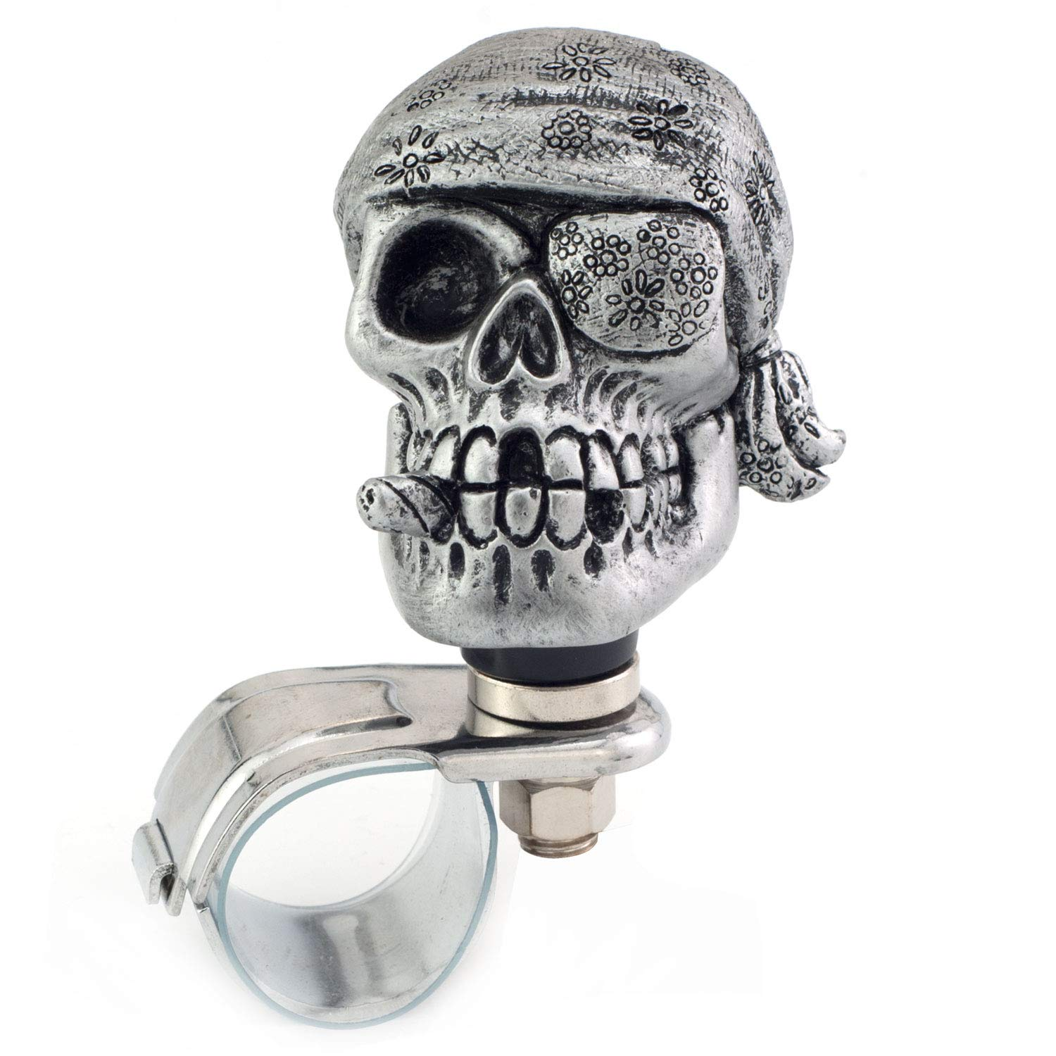 Black One-Eyed Pirate Style Car Power Grip Knobs Fit Most Manual Automatic Vehicles Thruifo Skull Car Handle Spinner Steering Wheel Suicide Knob