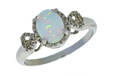 Elizabeth Jewelry 7mm Opal & Diamond Round Ring .925 Sterling Silver Rhodium Finish