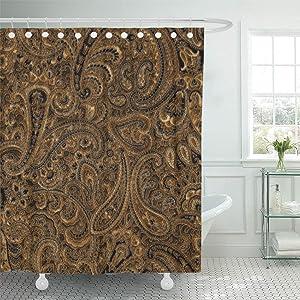 Semtomn Shower Curtain Damasks Brown Beige Black Floral Paisley Flowers Elegant 72