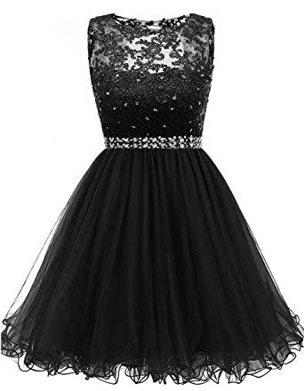 1178543f5a5 Himoda Lace Beaded Homecoming Dresses Sequined Appliques Cocktail Prom  Gowns Short H010 0 Black