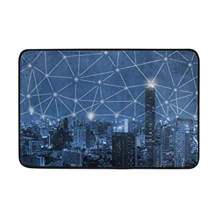 Amazon Com Dweobolufz 3d Blue Tone City Anti Slip Mat Indoor