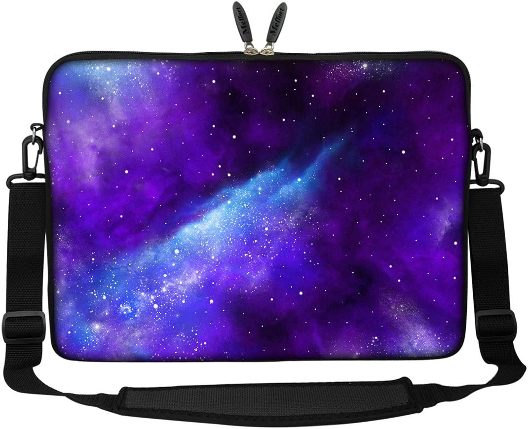 Meffort Inc 17 17.3 inch Neoprene Laptop Sleeve Bag Carrying Case with Hidden Handle and Adjustable Shoulder Strap - Galaxy Universe
