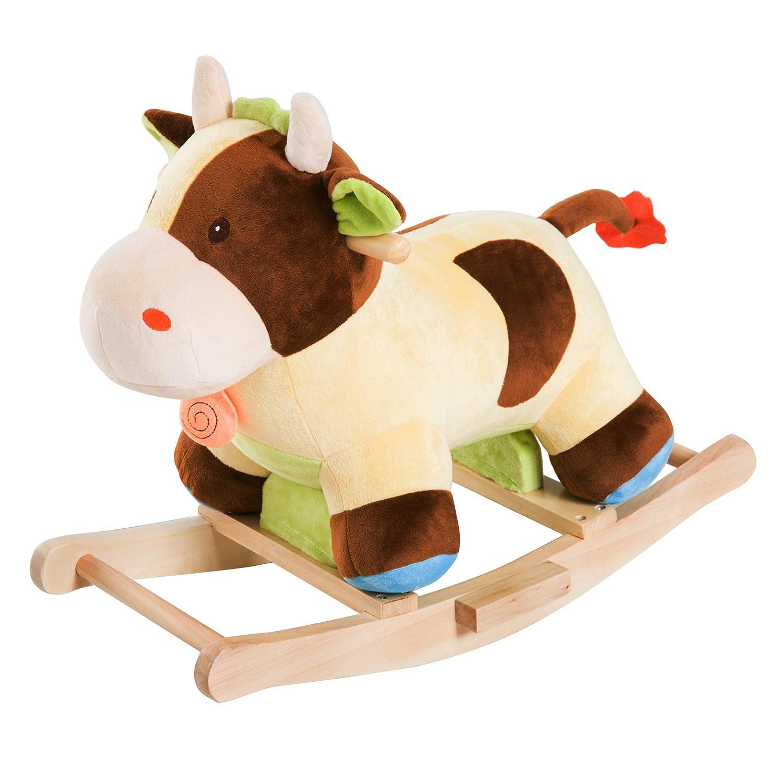 Homcom Cheval /à Bascule Vache /à Bascule Rembourrage Coton Grand Confort Peluche Courte Douce Bois peuplier Jaune Marron