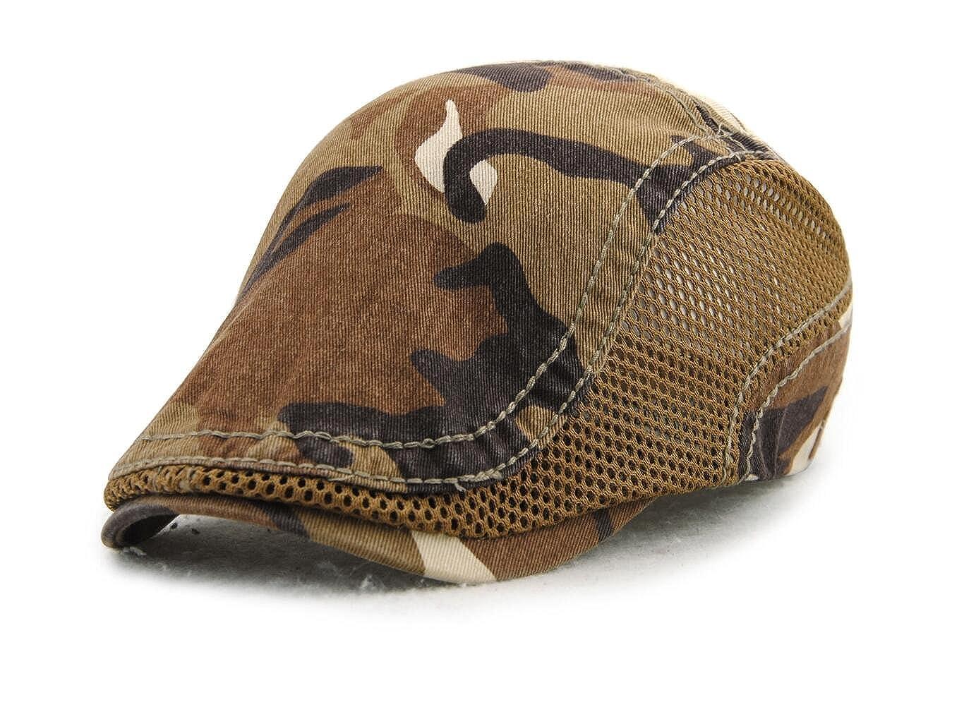 723aaf17 Amazon.com: Elwow Men's Outdoor Sports Camouflage Vintage Newsboy Cap,  Women's Flat Driver Cap, Irish Hat, Outdoor Sports Sun Hat with Adjustable  Strap: ...