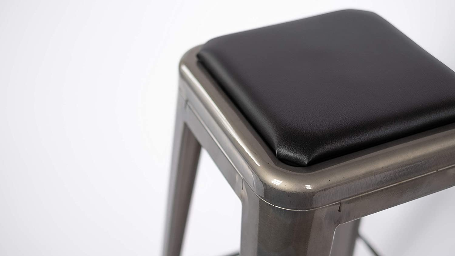 Square Stool Cushion for Tolix and Similar Stackable stools Black