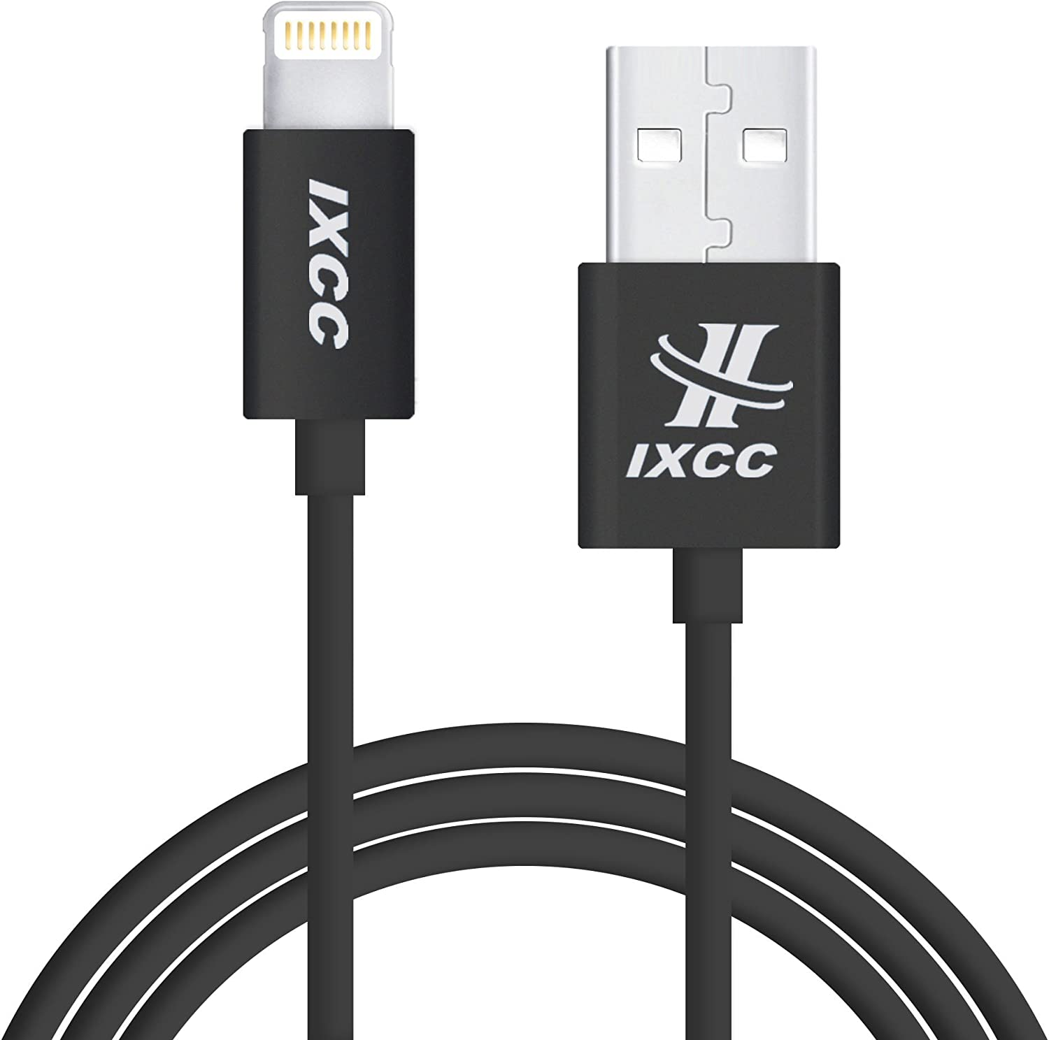 iXCC Element II Lightning Cable 6ft, iPhone Charger, for iPhone 7 6s 6 Plus, SE 5s 5c 5, iPad Air 2 Pro, iPad Mini 2 3 4, iPad 4th Gen [Apple MFi Certified](Black)