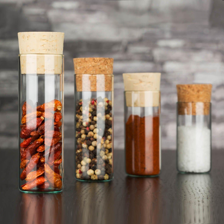 set di alta qualit/à Set di 25/barattoli con tappo di sughero a pressione 25 vetro con pareti resistenti 60 x /Ø30 mm