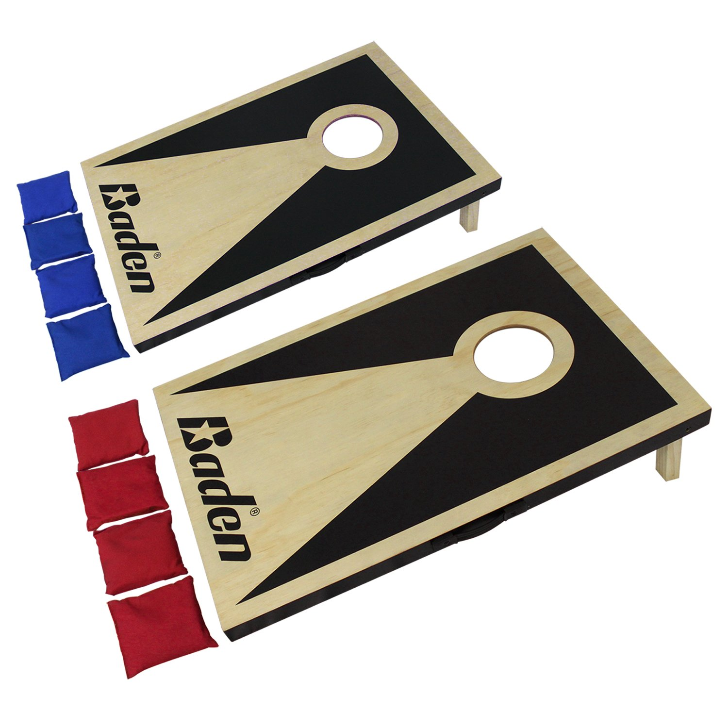 Baden Pro Cornhole Game Sets (2x3')- 1/2'' Plywood Top, Folding Legs, Carry Handles, 8 Bean Bags, Built-in Bag Storage by Baden