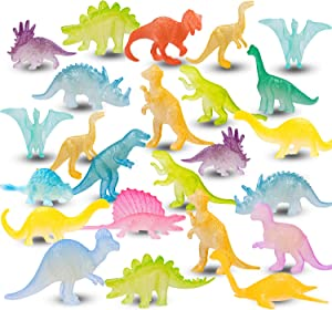 48PCS Mini Luminous Dinosaurs Glow In Dark Dino Figures Party Favor Decoration Kids Small Bulk Dinosaurs Toys for Boys Girls Kids Birthday Cup Cake Topper Pinata Fillers Party Goodie Bags Stuffers
