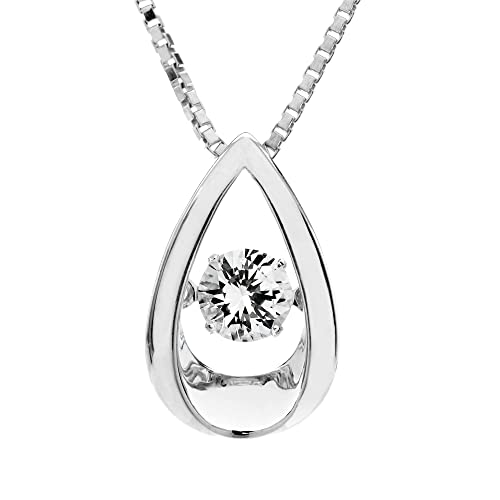 SERAFINA Womens Pendant Necklace in 925 Sterling Silver with Dancing White Sapphire On 18 Chain Available in Water Drop or Snowflake Shape for Her