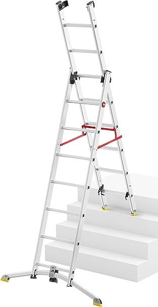 Hailo 9308 – 557 ProfiLine Trio, de aluminio escalera combinada, 3 piezas, aluminio, 2 x 8 Plus 1 x 7 peldaños: Amazon.es: Bricolaje y herramientas