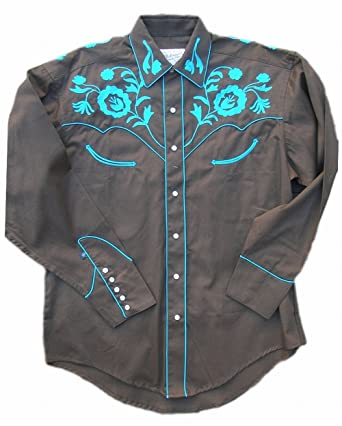 dbc9f900 Rockmount Mens Vintage Style Western Floral Embroidery Snap Shirt,  Turquoise, S at Amazon Men's Clothing store: