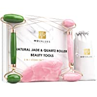 Authentic Jade Roller For Face, Rose Quartz Roller and Gua Sha Facial Tool Set - Face Roller: 100% Real Jade, Face…