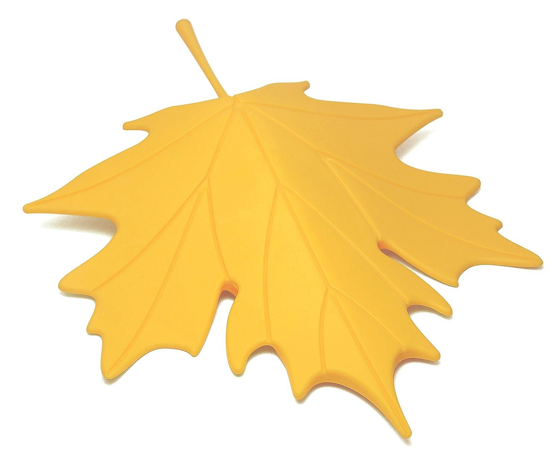 Qualy QL10072R Autumn - Fermaporta in EVA a forma di foglia, 14,7 x 18,3 x 3,5 cm, colore: Giallo QL10072-Yw