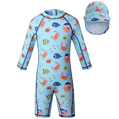 120e0b8288 Baby Boy Swimsuits Kid One-Piece Swimsuits with Sun Hats UPF50+UV (12