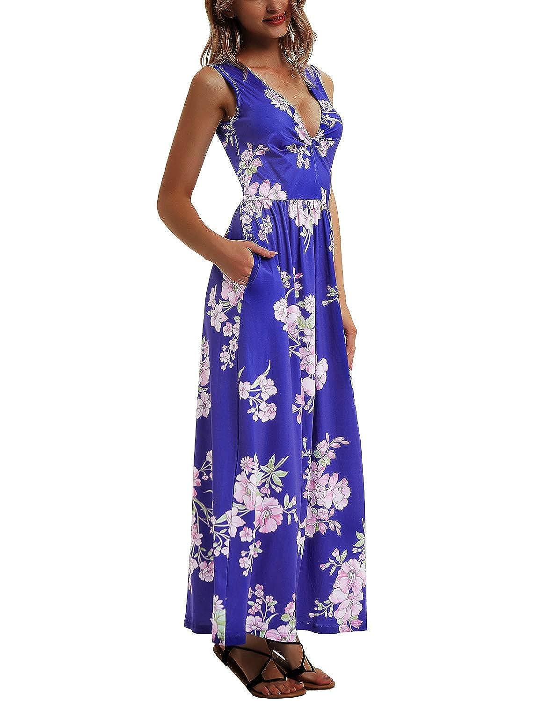 Royal bluee Flower Women's Floral Maxi Dress VNeck Sleeveless Long Dress With Pockets