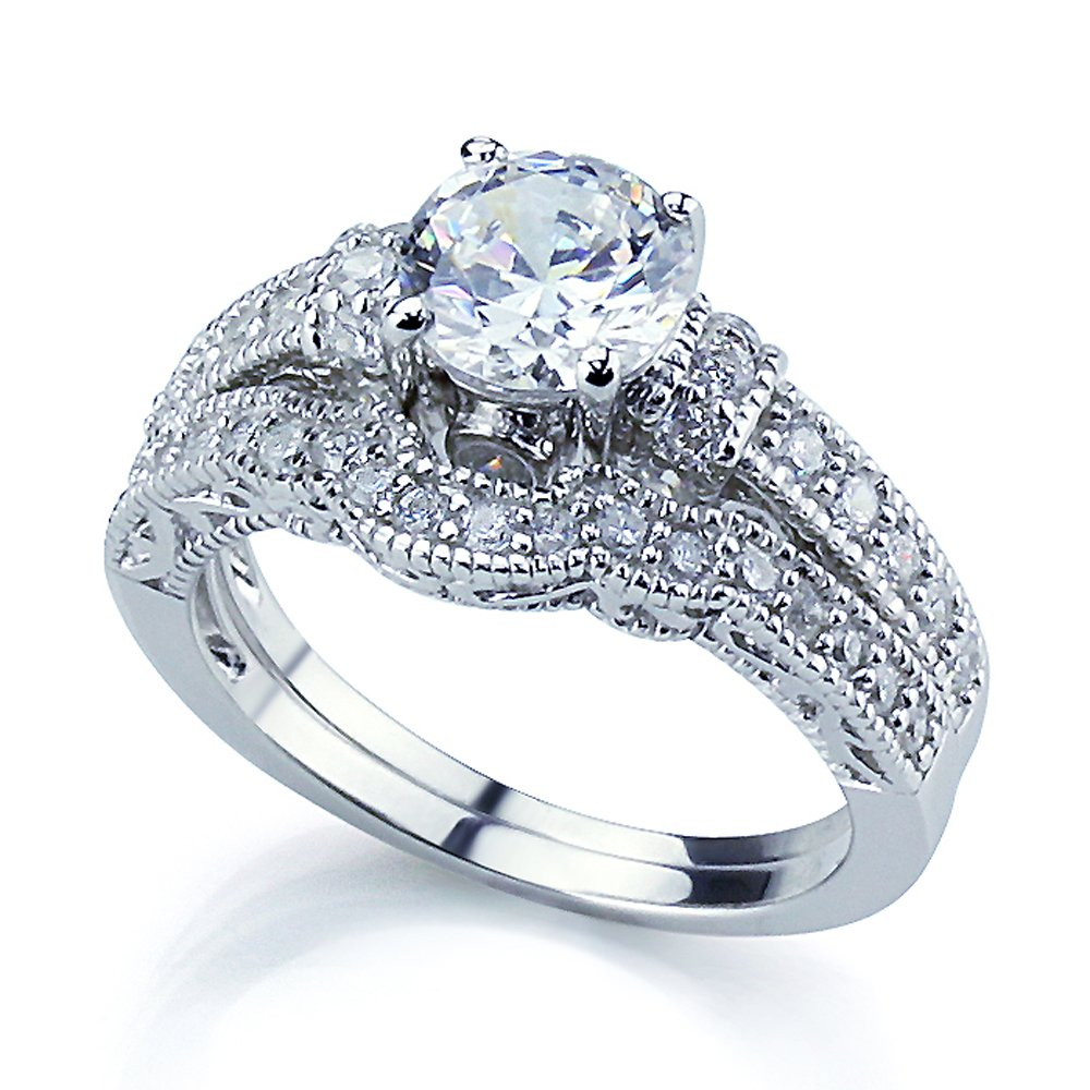 Sterling Silver Rhodium Plated, CZ Set Vintage Style 2 pcs Engagement Ring Bridal Sets 6mm ( Size 5 to 9) Size 7