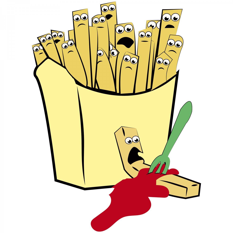 Pommes Tüte Damen T-Shirt Fun Shirt Spaß Party Imbiss Spieß Ketchup lustig