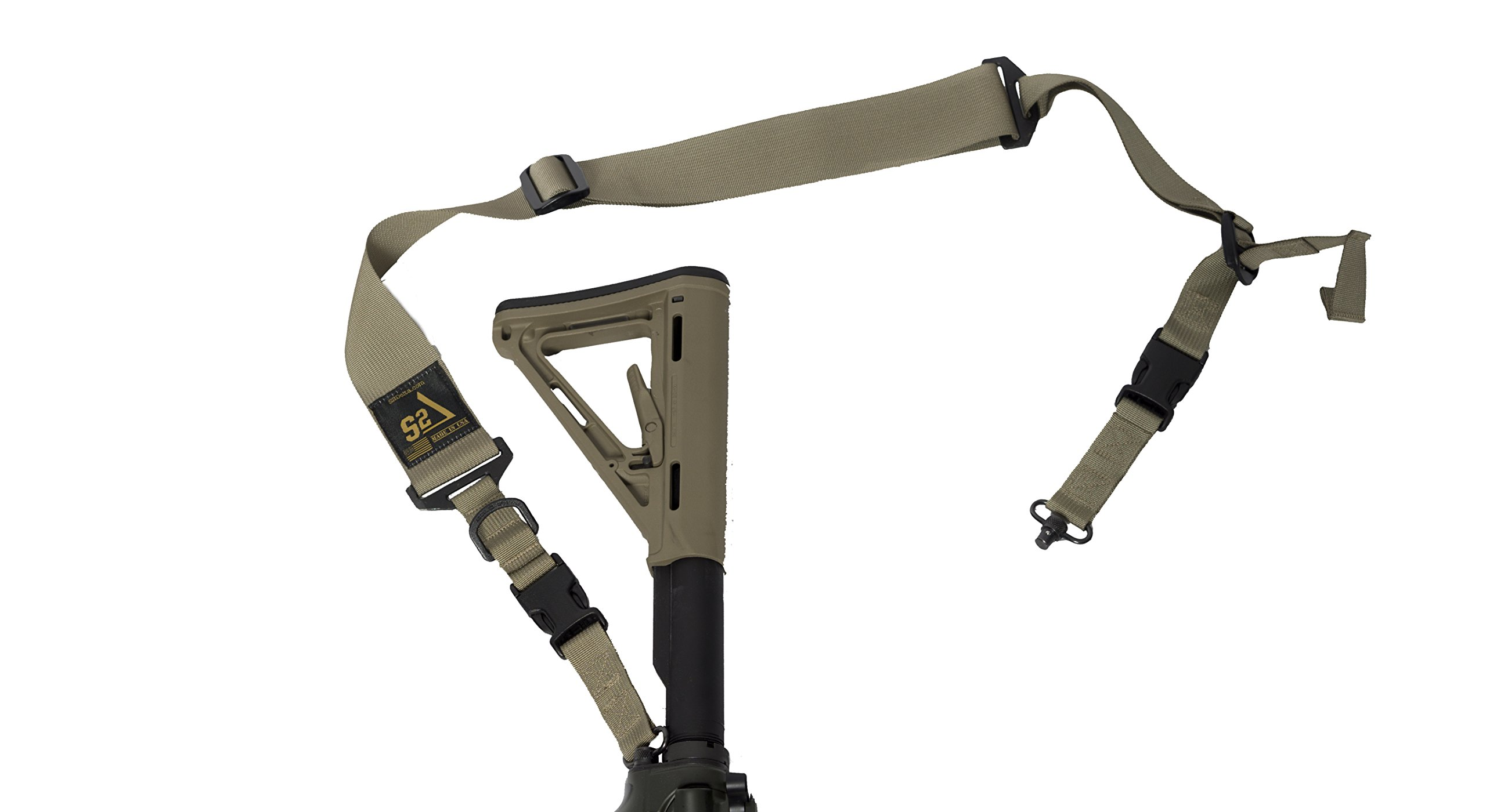 S2Delta - USA Made 2 Point Rifle Sling, Quick Adjustment, Modular Attachment Connections, Comfortable 2'' Wide Shoulder Strap to 1'' Attachment Ends (Coyote with Push Button Swivels) by S2Delta