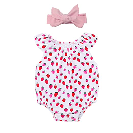 d5af7c250 Kids Newborn Baby Girls Romper Swimsuit Outfits Strawberry Print Buttons  Ruffles Jumpsuit Summer Clothes Set (