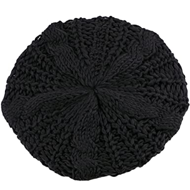 930150a1389fe Women s Lady Knitted Beret Braided Baggy Beanie Crochet Hat Ski Cap (Black)