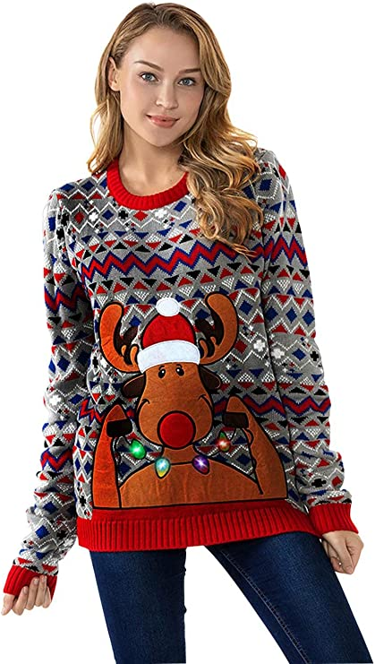 Women's Christmas Ugly Sweater Funny LED Light-up Flashing Pullover ugly christmas sweaters for women