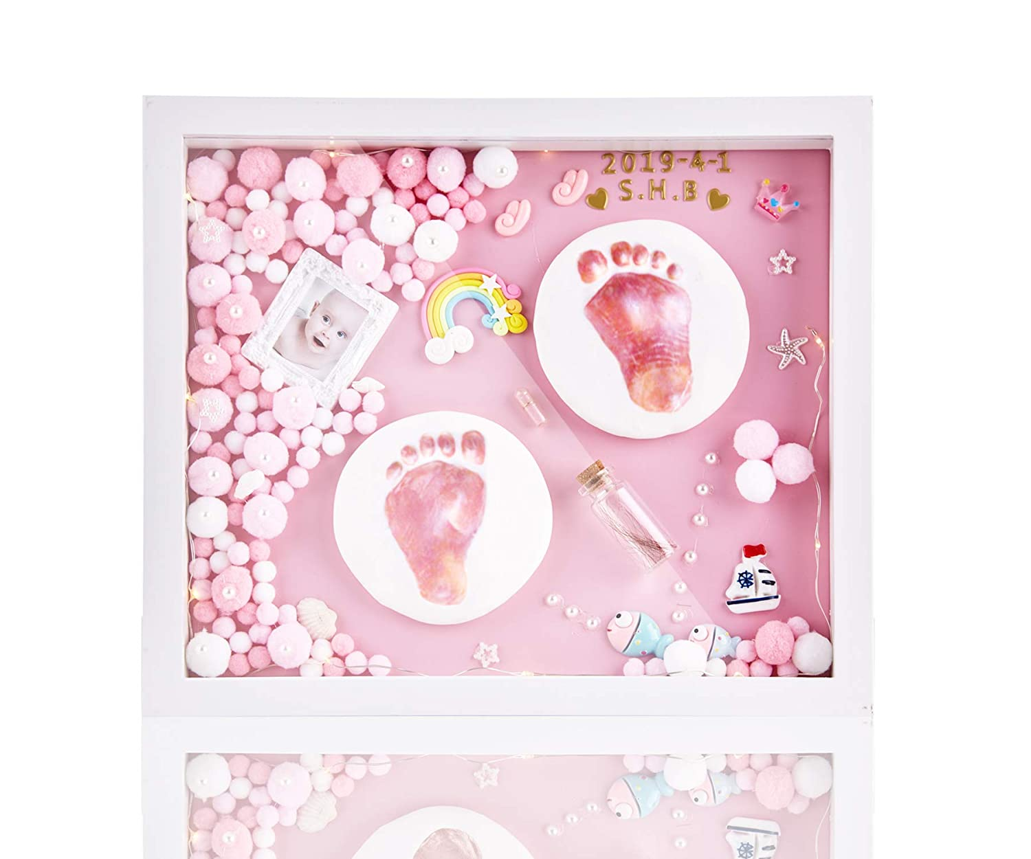 Baby Hand and Footprint Kit for Newborn Girls and Boys, Personalized Baby Handprint and Footprint frame Keepsake, Non-Toxic Clay, Solid Wood Picture Frame. Perfect Registry, Baby Shower & Newborn Gift
