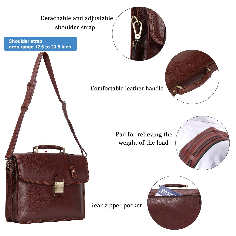 Banuce Vintage Full Grain Leather Briefcase for Men with Lock 14'' Laptop Tote Business Messenger Bag by Banuce (Image #4)