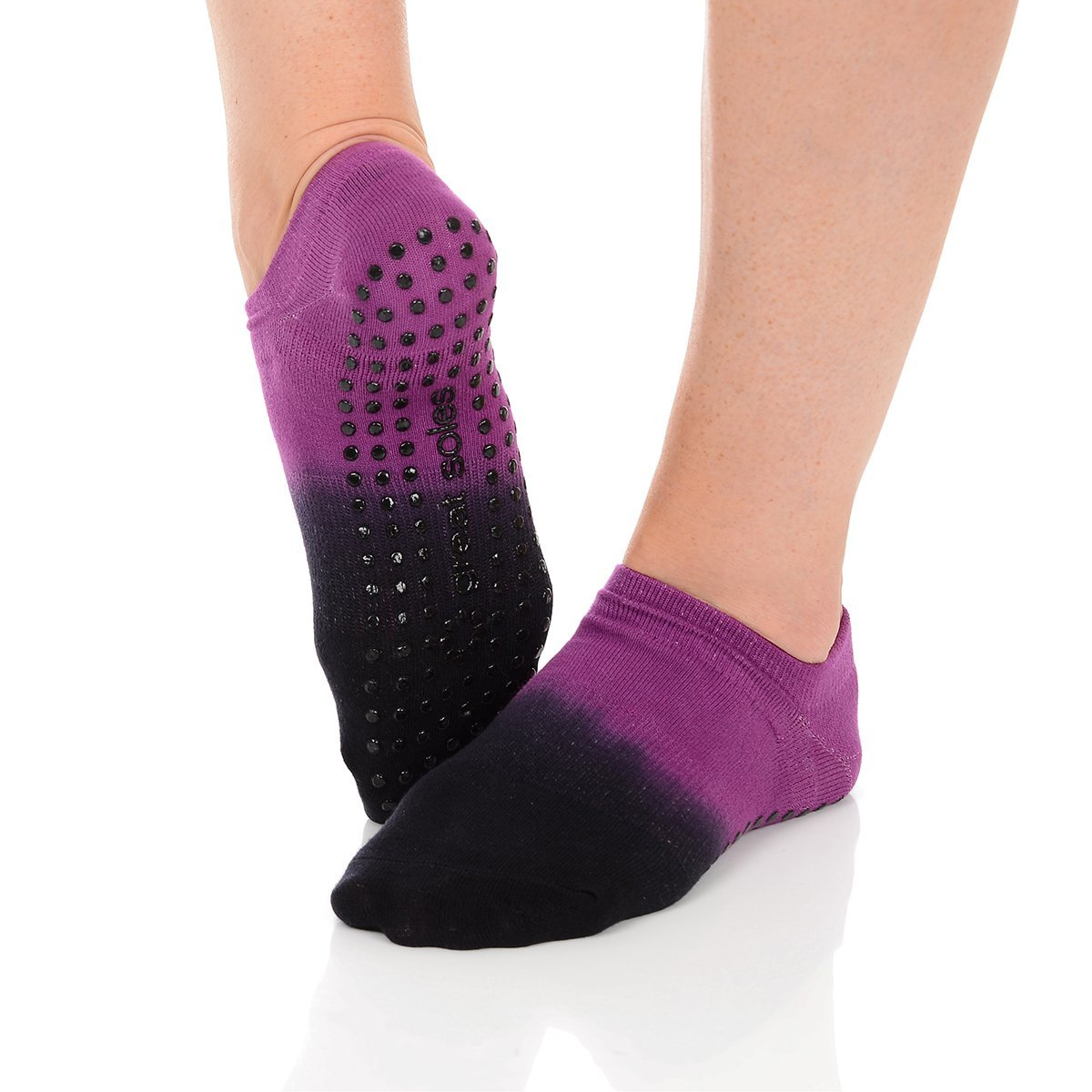 Great Soles Ombre Dyed Grip Socks for Women - Non Slip Yoga Socks for Pilates, Barre, Ballet (Berry/Black) by Great Soles (Image #4)