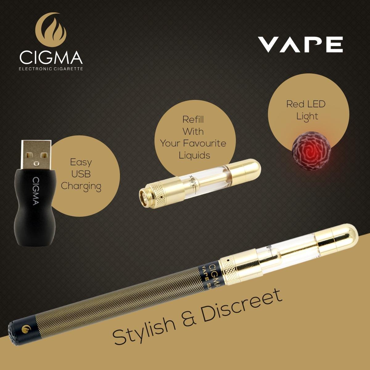 Cigma Vape | kit de cigarrillo electrónico más pequeño del mundo Recargable | E Shisha | Recargable | Claromizador Recargable | E-líquido recargable ...