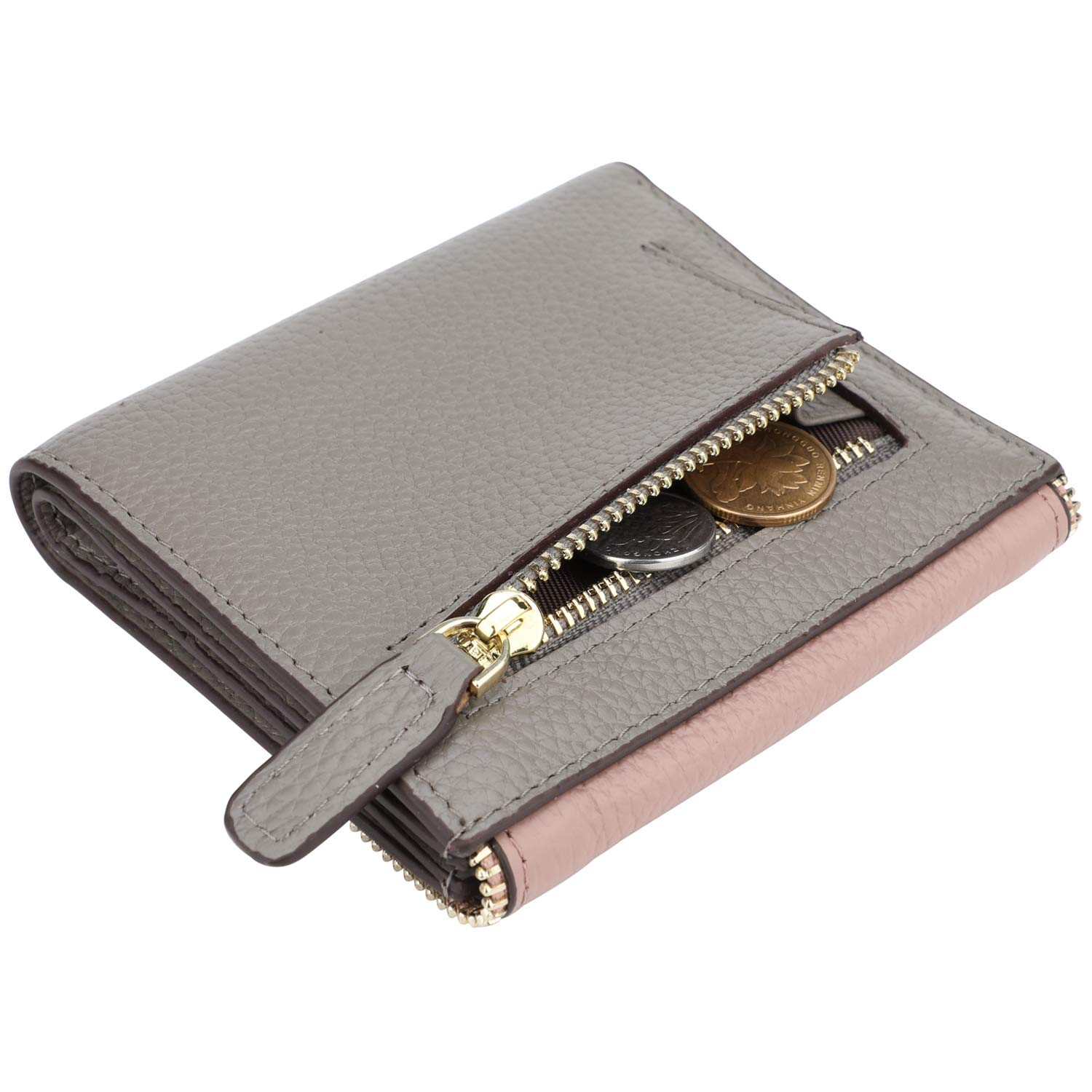 Lavemi RFID Blocking Small Compact Mini Bifold Credit Card Holder Leather Pocket Wallets for Women(Envelope Dark Pink)