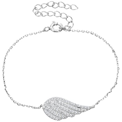 EVER FAITH® 925 Sterling Silver CZ Angel Wing Feather Adjustable Chain Bracelet N06633-1 cEZxvj