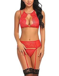 Avidlove Women Lace Lingerie Set with Garter Belts Lace Teddy Babydoll  Bodysuit 9d5af6911