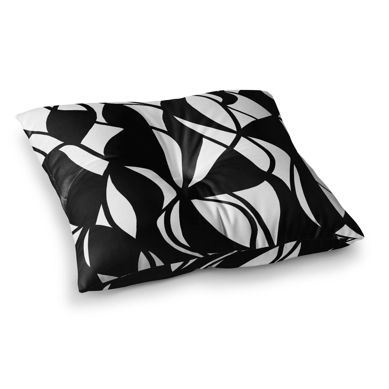 23 x 23 Square Floor Pillow Kess InHouse Chelsea Victoria Lets Get Wild Black White Illustration Typography