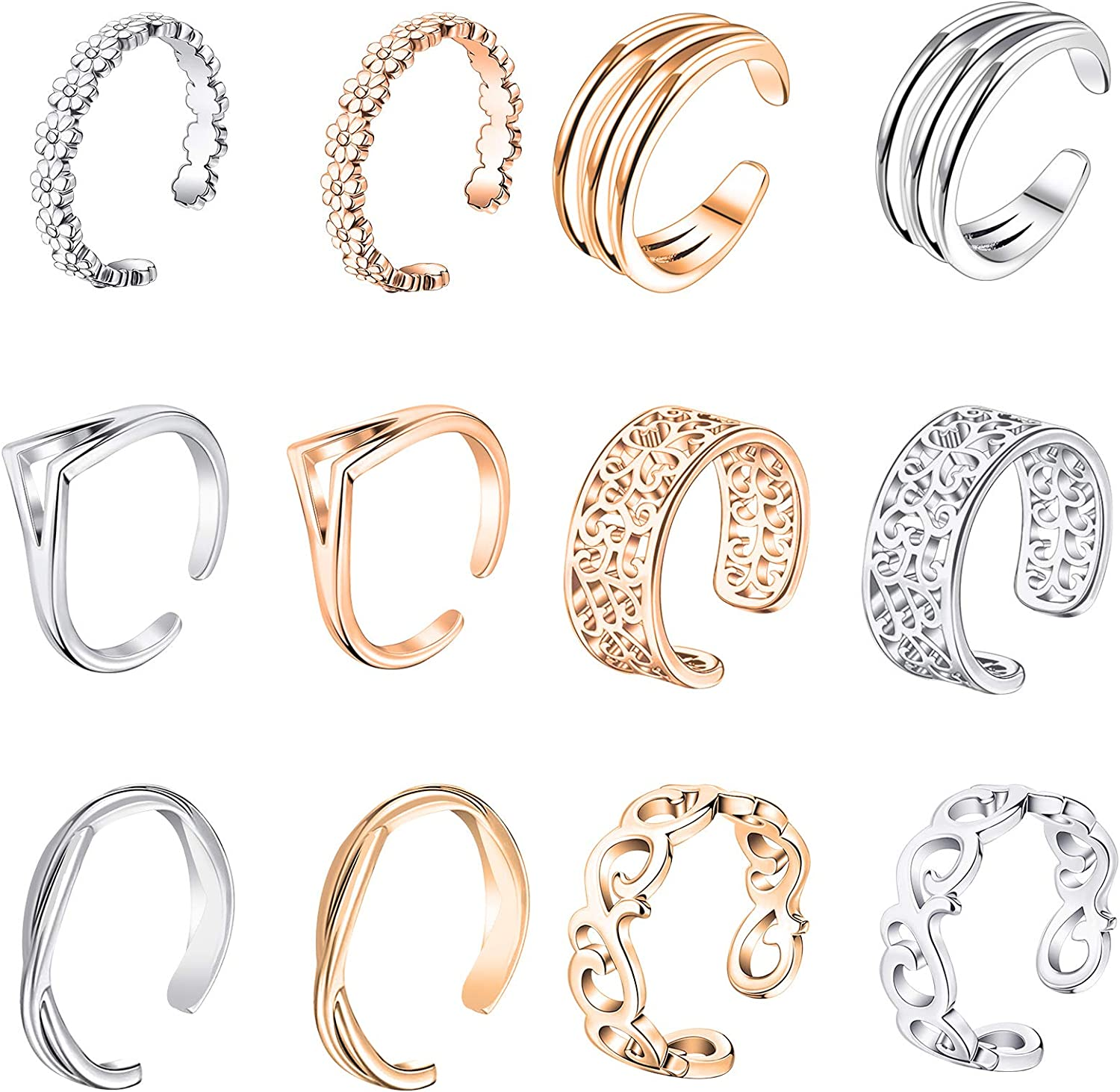 ONESING 12 Pcs Toe Rings for Women Silver Rose Gold Adjustable Finger Foot Rings Summer Beach Jewelry Finger Foot Jewelry with 1 Flanneal Bag