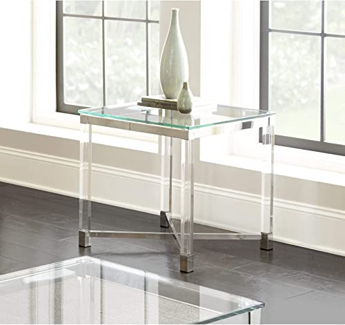 Greyson Living Tamina Contemporary Glass Top End Table by