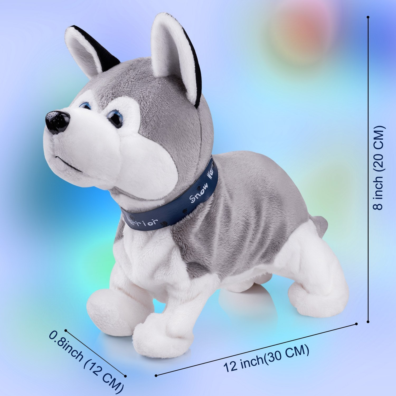 Interactive Puppy Plush Animated Pet Electronic Dog Cute Robot Dog Baby Toys Touch Control Plush Husky Stuffed Animal Dog Toy Toddler kids Girl Toys Tumbling, Clapping hands, Bowing Length 12'' by Marsjoy (Image #4)