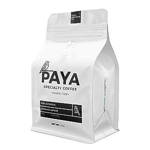 Paya Coffee - Medium Roast - Specialty coffee - Direct Trade - Ground, Arabica - Perfect for Long Black, Americano, Expresso - 100% Costa Rican Coffee, 12 Ounce