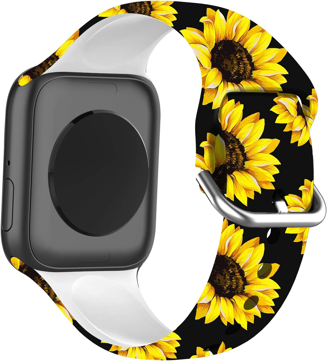 BMBMPT Compatible with Apple Watch Band 38mm 40mm 42mm 44mm, Soft Silicone Floral Fadeless Strap Replacement Bands for iWatch Series 6/5/4/3/2/1 SE.