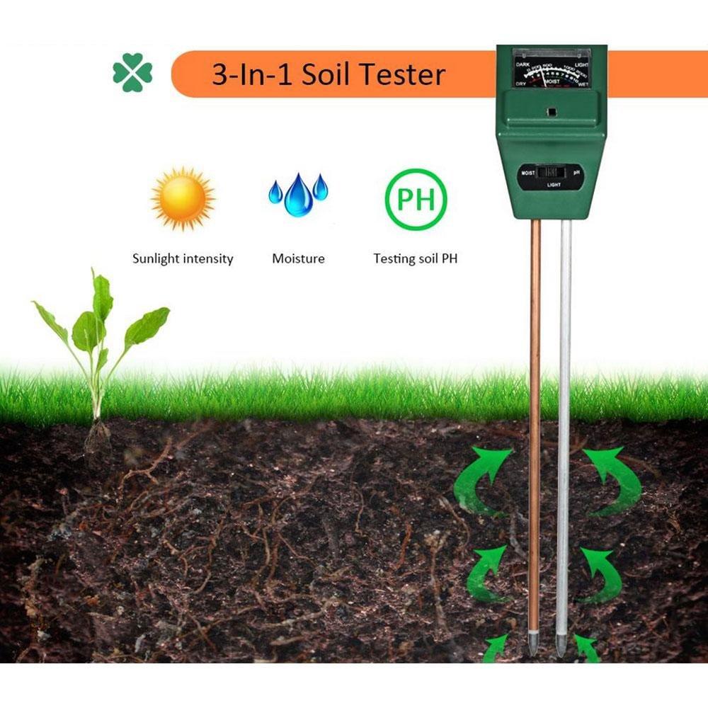 Soil PH Meter(New Version),Aolvo 3 in 1 Soil Moisture Meter PH Tester Moisture Light Meter Gardening Detector Hygrometer Great For Garden, Farm, Lawn, Indoor & Outdoor (No Battery needed)